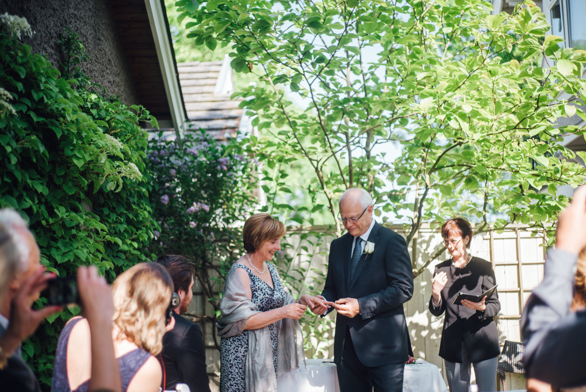 simple backyard wedding vancouver rings exchange